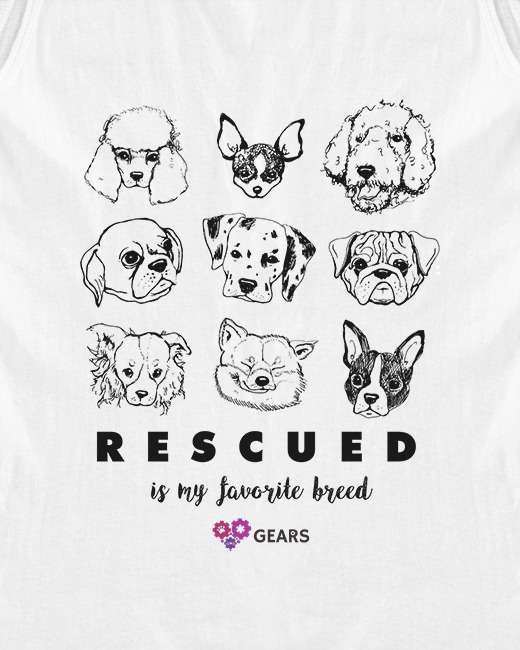 Rescued is my favourite breed GEARS t shirt