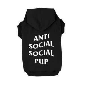 Anti Social Social Pup Club Hoodie. Dog Hoodie. GEARS. Dog Apparel.